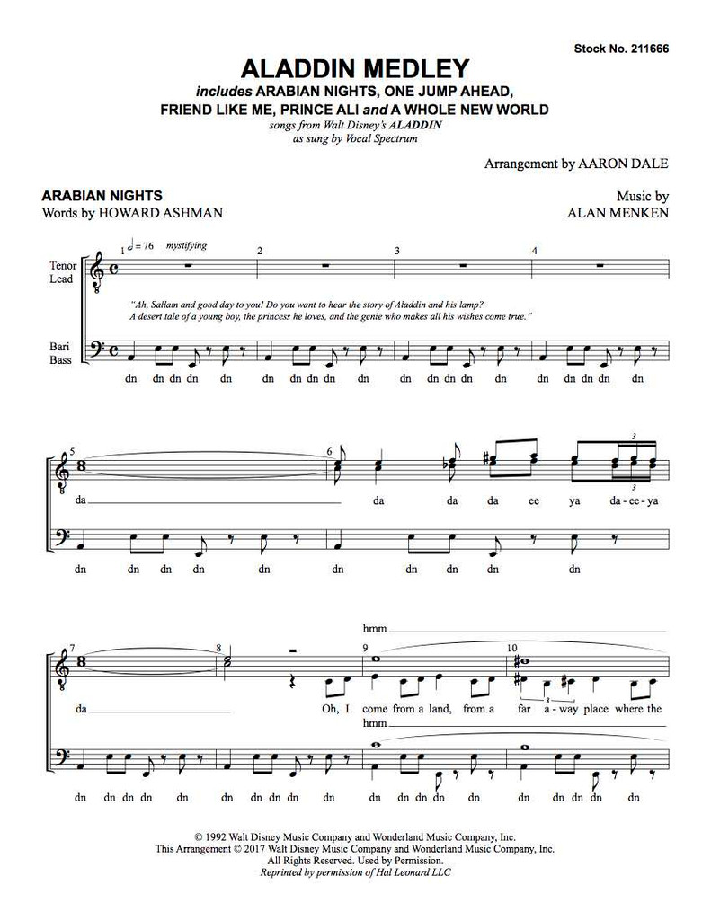 Aladdin Medley (TTBB) (arr. Dale)