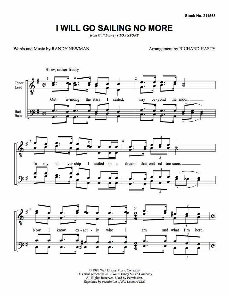 I Will Go Sailing No More (TTBB) (arr. Hasty) - Download