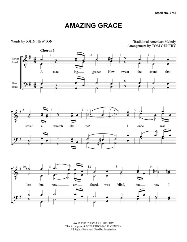 Amazing Grace (TTBB) (arr. Gentry) - Download