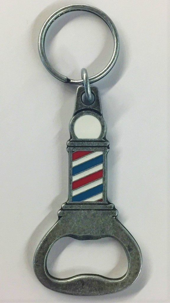This metal keychain was custom made just for barbershop enthusiasts.  Features a split key ring on one end, a bottle opener on the other, and a barberpole in the center.  Not only is it eye-catching, it also comes in very handy for a spur of the moment situation.