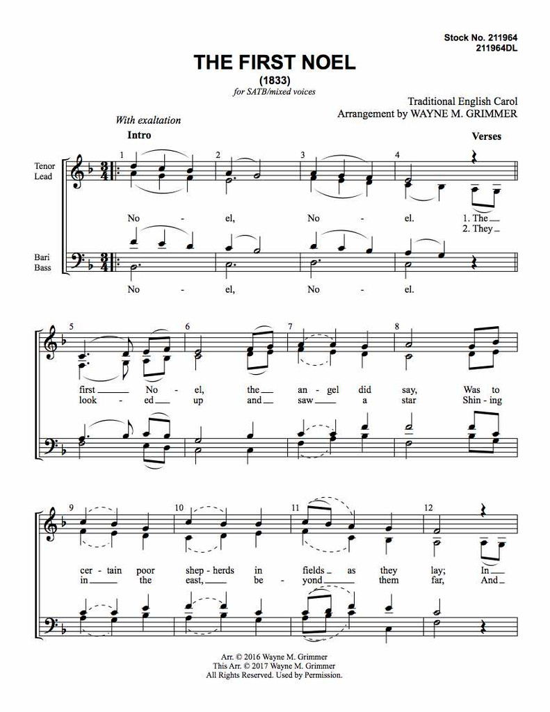 The First Noel (SATB) (arr. Grimmer) - Download