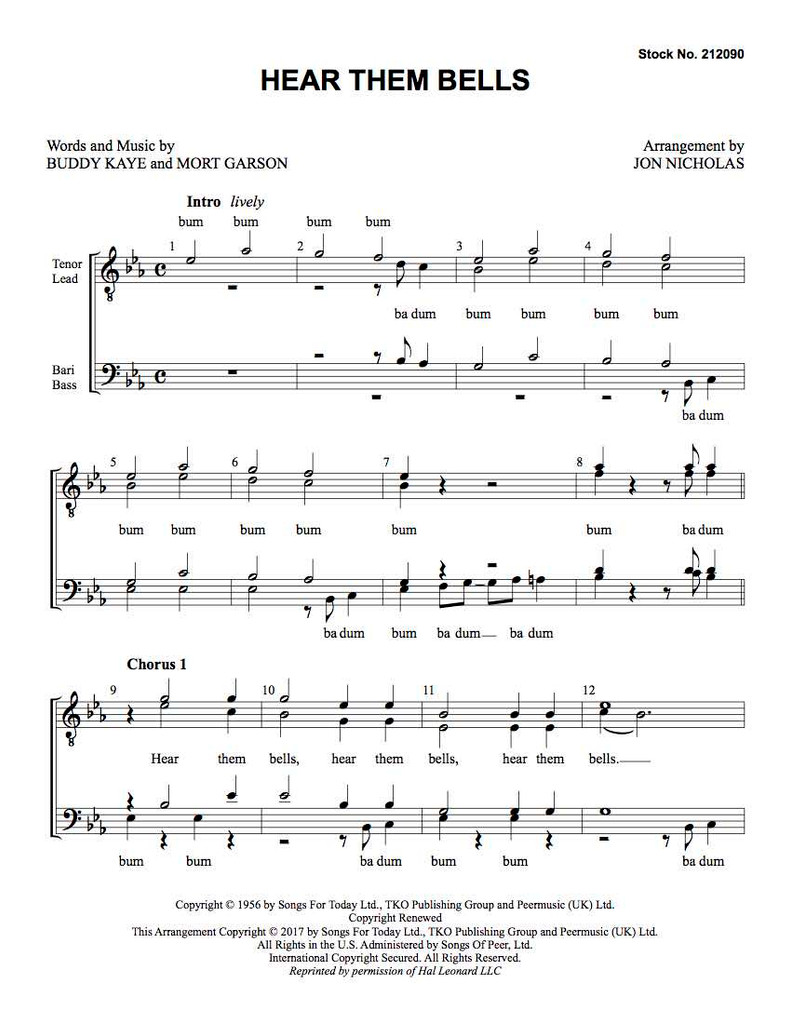 Hear Them Bells (TTBB) (arr. Nicholas)