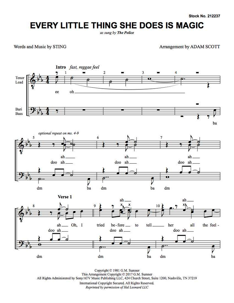 Every Little Thing She Does Is Magic (TTBB) (arr. Scott)