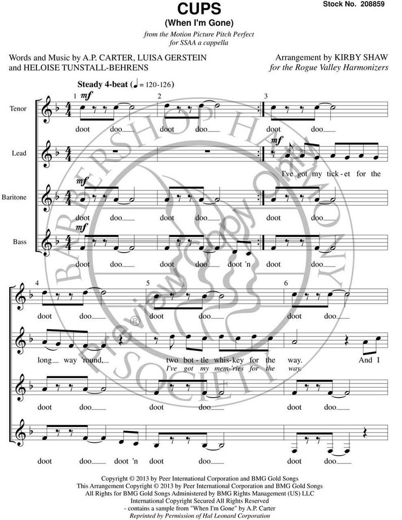 Cups (When I'm Gone) (SSAA) (arr. Shaw) - Download