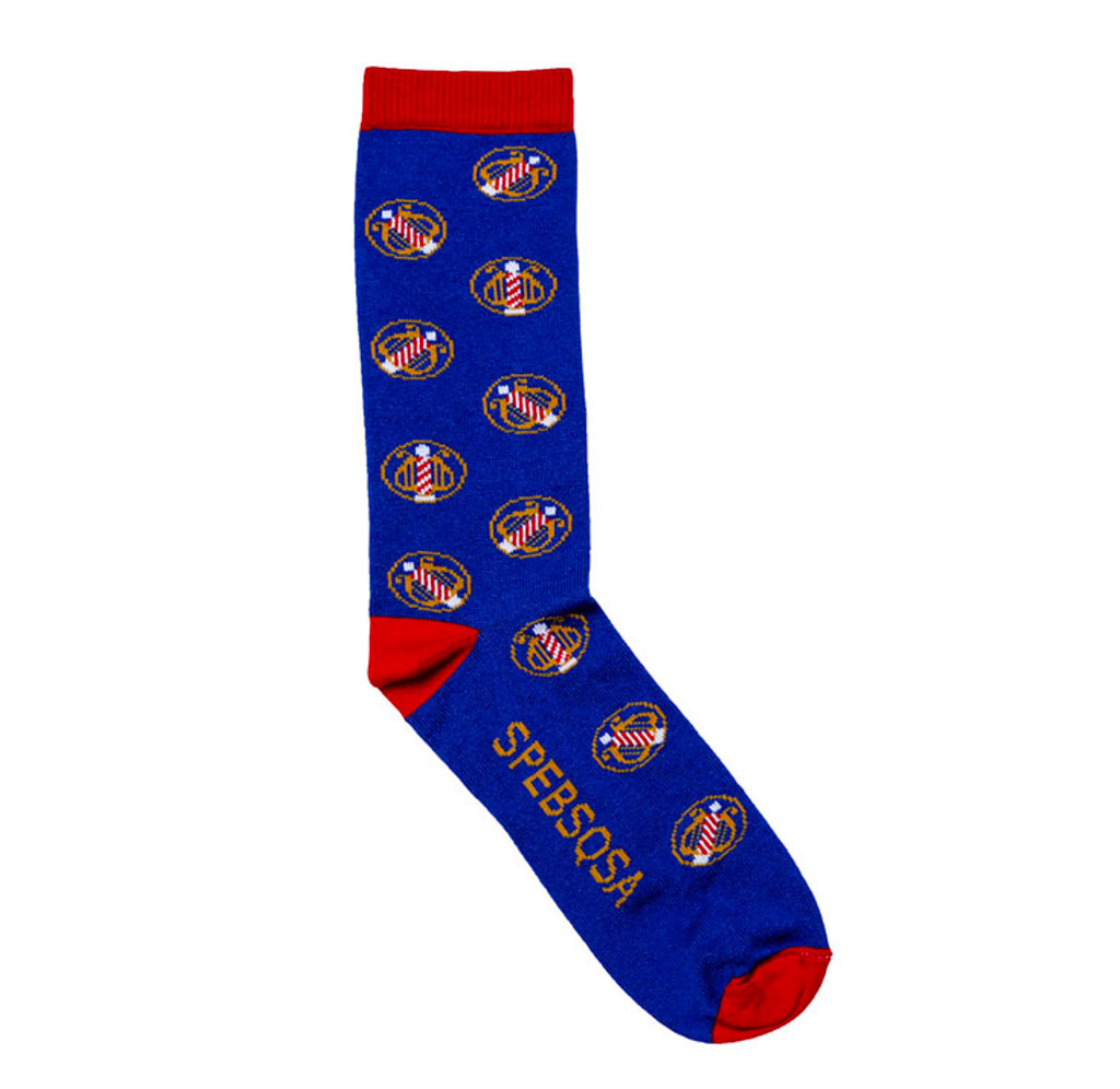 Show off your barbershop pride with our vintage logo socks.  Sock features the lyre logo on a blue background with SPEBSQSA written in gold on the insole and along the length of the sock.   Sock is made of 70% Polyester, 22% Acrylic, 4% Spandex, and 4% Elastic.  Because these are custom socks, they may run a bit smaller.  Sock Size: 10-13 Large   Wash luke warm, dry low, no bleach.