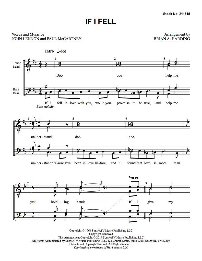 If I Fell (TTBB) (arr. Harding) - Download