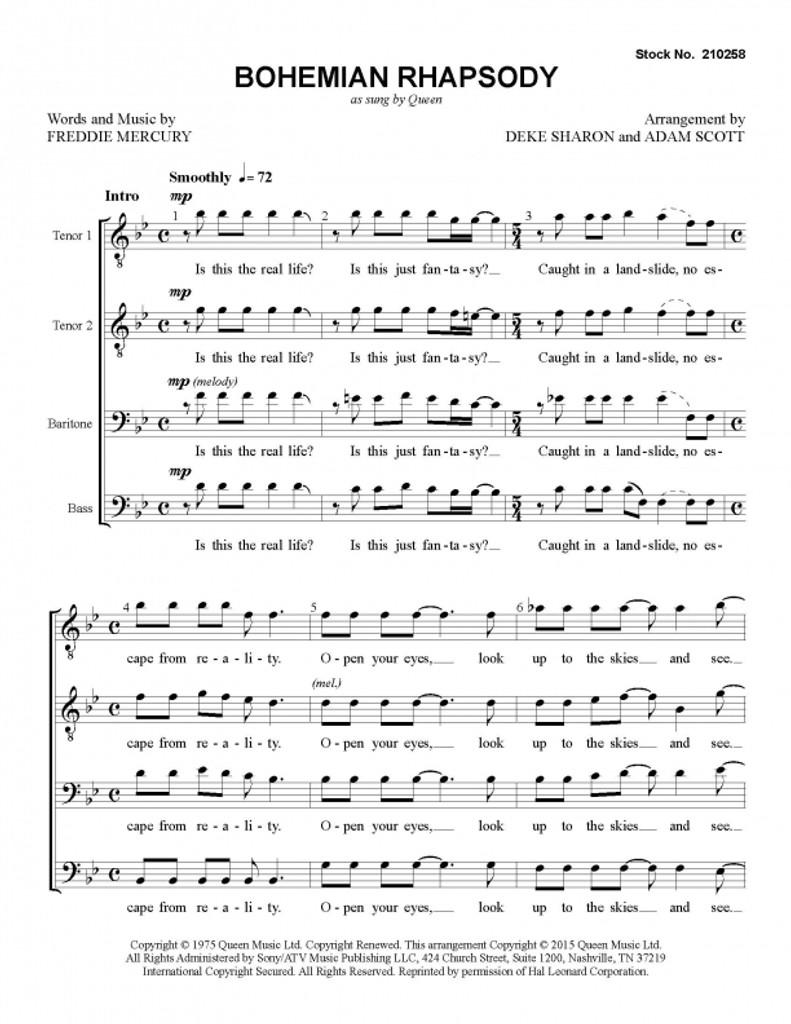 Bohemian Rhapsody (TTBB) (arr. Sharon & Scott) - Download