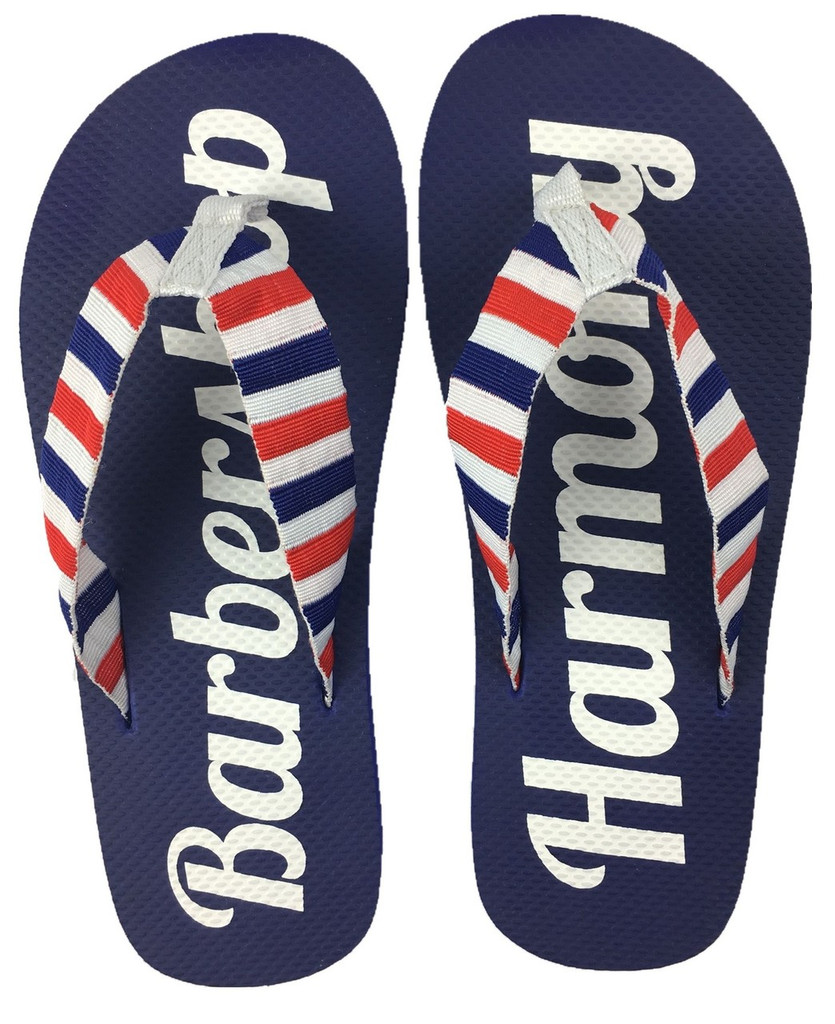 "Let your feet breathe with these Barberpole Flip Flops!  ""Barbershop Harmony"" is printed on the the cushy blue soles, and the canvas uppers are sure to keep these flops on your feet.   Available in three sizes."