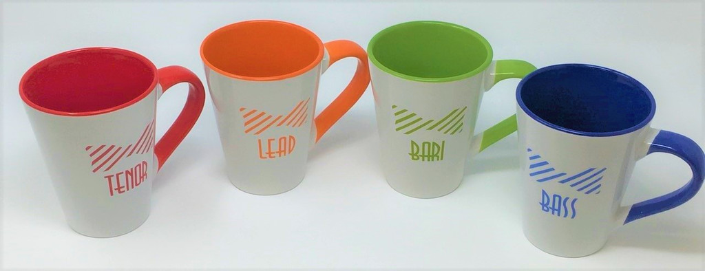 GIVE THIS TO YOUR FAVORITE QUARTET!  However you take your coffee, you'll love it in your voice part mug.  Meridian Ceramic mug features each voice part and a bow tie with matching handle.  The ear-shaped handle reduces contact with hot coffee.  Size: 15 oz.  Available in Red (Tenor), Orange (Lead), Lime Green (Baritone), Ocean Blue (Bass).  Sold individually or as a set of 4.
