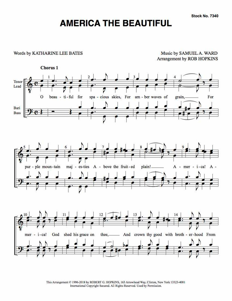 America The Beautiful (TTBB) (arr. Hopkins) - Download