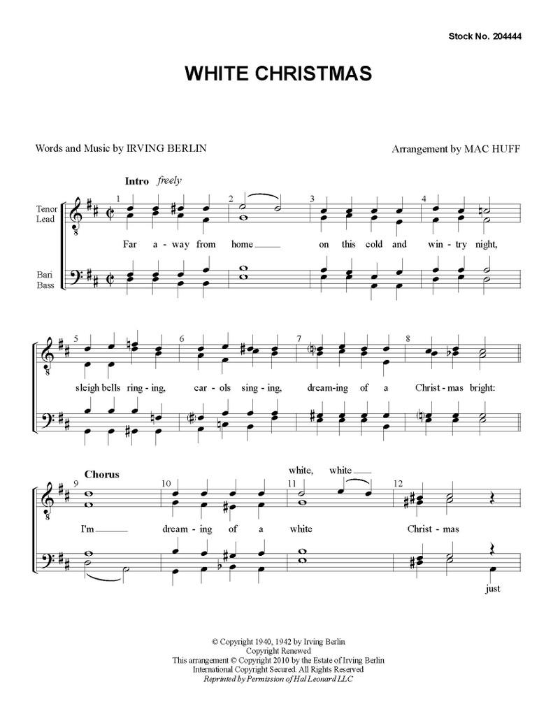 White Christmas (TTBB) (arr. Huff) - Download