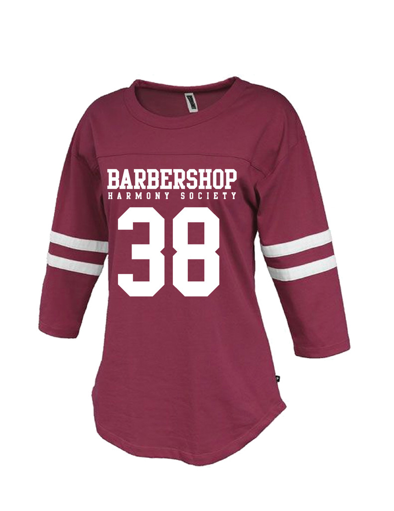 Ladies Twin Stripe Jersey - Maroon