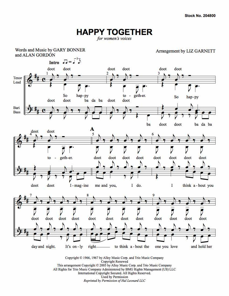 Happy Together (SSAA) (arr. Garnett) - Download