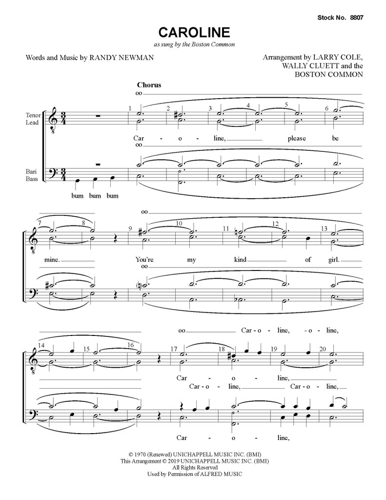 Caroline (TTBB) (as sung by Boston Common) - Download