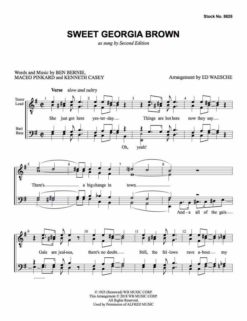 Sweet Georgia Brown (TTBB) (arr. Waesche) - Download