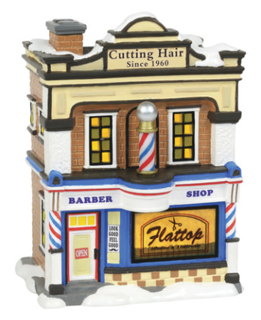 "$110 Member Price  The rotating barber pole signifies to everyone on Main Street that Flattop Barbershop is the place for the best haircut in town.  Whether a traditional trim or the latest trends, the Flattop barbers are sure to give you the finest look for the holidays.   Introduced January 2018  Lighted Buildings  7.5"" in Height  Part of the Original Snow Village by Enesco. Limited Quantities Available.  Product Details: Animated ceramic building with adapter cord. Barber pole rotates.   Coordinates with: The Flattops Barbershop Quartet (6000650). Sold separately."