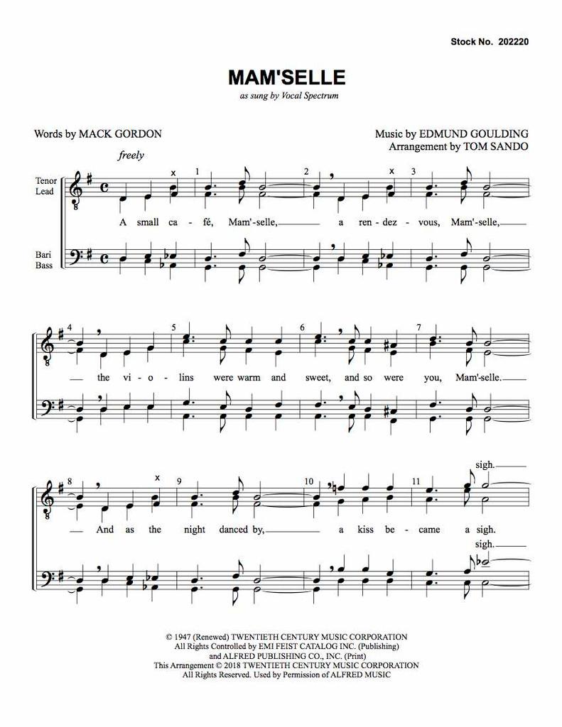 Mam'selle (TTBB) (arr. Sando) - Download