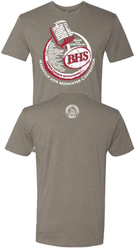 The commemorative shirt from the 2019 Midwinter Junior Chorus Invitational.   These shirts will not be reprinted, so grab one while supplies last!