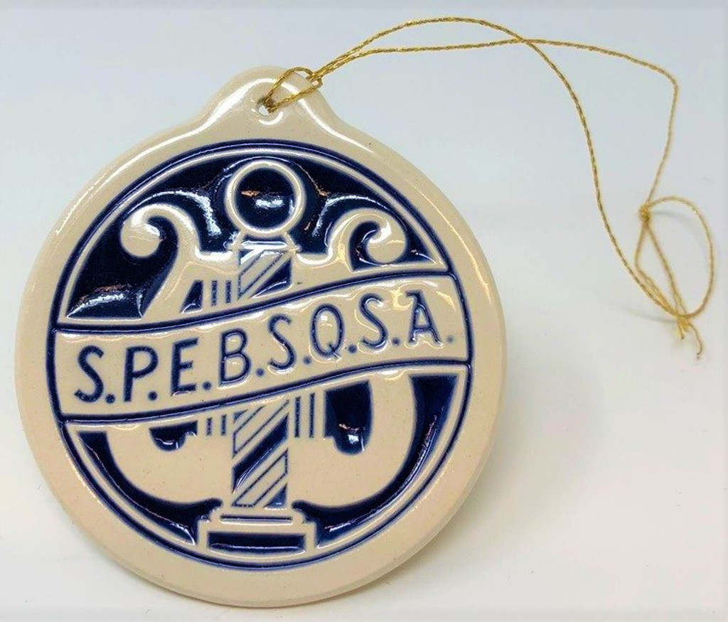 "Trim your tree with this beautiful ceramic ornament created by Deneen Pottery, the company that creates our unique one-of-a-kind pottery mugs.  The ornament is 2"" round, with a cobalt blue filling, and a clear glaze.  Features our vintage and original SPEBSQSA society logo.   Also categorized as one of our signature and simple, yet elegant pieces."