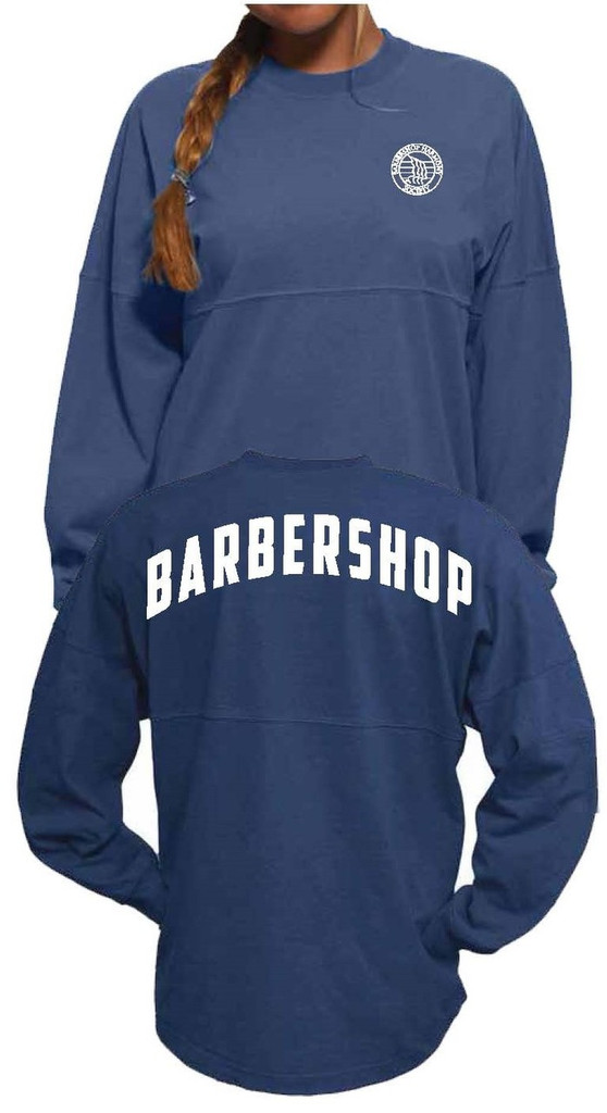 Barbershop Harmony Society Spirit Jersey, small white logo on front. Back features Barbershop in large bold letters across the shoulders.