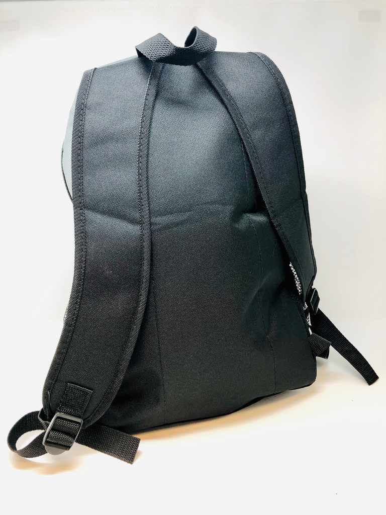 Light durable backpack features small front zippered pouch, large inner zippered compartment, and headphone eyelet, keeping your electronics safe from the elements. Easy grab carrying handle and two shoulder straps make wearing this a breeze.