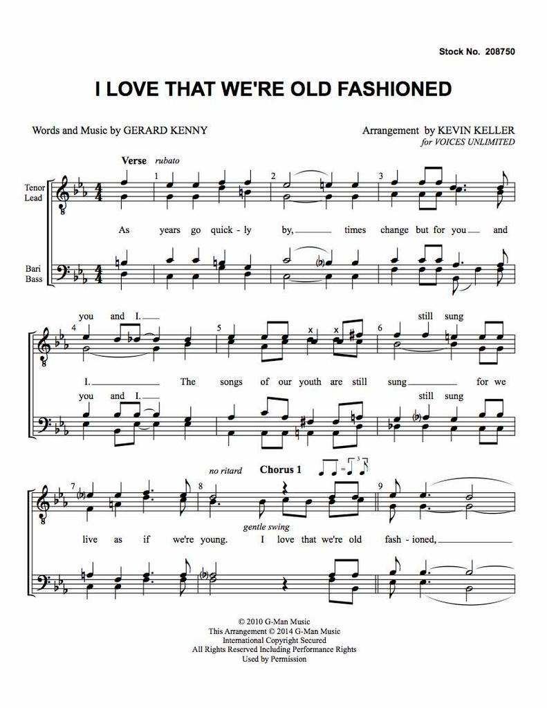 I Love That We're Old Fashioned (TTBB) (arr. Keller)-Download-UNPUB