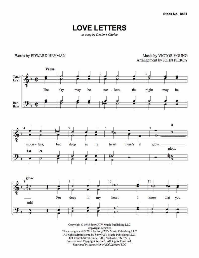 Love Letters (TTBB) (arr. Piercy) - Download