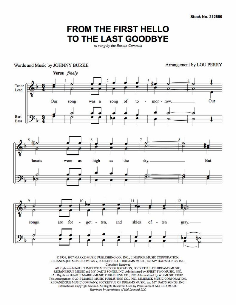 From the First Hello to the Last Goodbye (TTBB) (arr. Perry) - Download