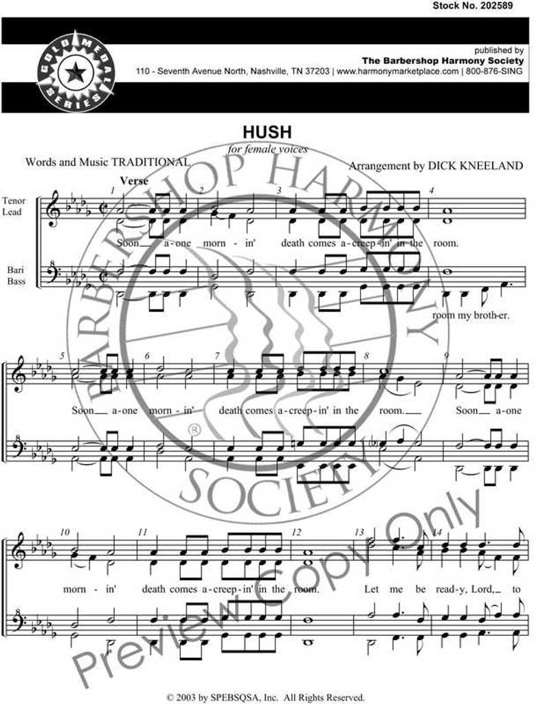 Hush (SSAA) (arr. Kneeland) - Download