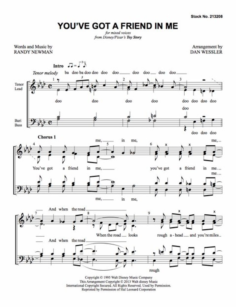 You've Got a Friend in Me (SATB) (arr. Wessler) - Download