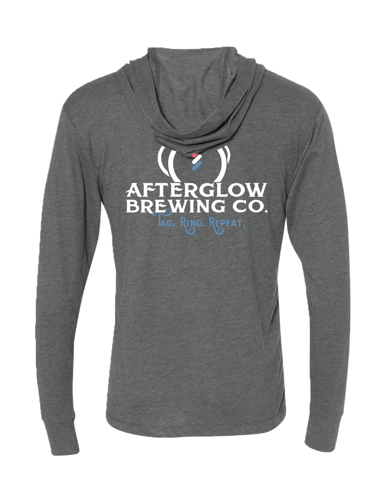 BackA sleek and stylish hoodie branded with the Afterglow Brewing Co. logo that is a great addition to any wardrobe.   This hoodie is lightweight and incredibly soft with great drape, stretch, and recovery.     Details:  Fabric: Tri-Blend Jersey 50% Polyester 25% Combed Ring-Spun Cotton 25% Rayon / 32 singles, 145 grams/4.3oz. Neck: Hoody Binding: Side seamed. 1x1 tri-blend baby rib cuffs. Three piece, single layer hood.   This hoodie is a part of the Afterglow Brewing Co. merchandise.