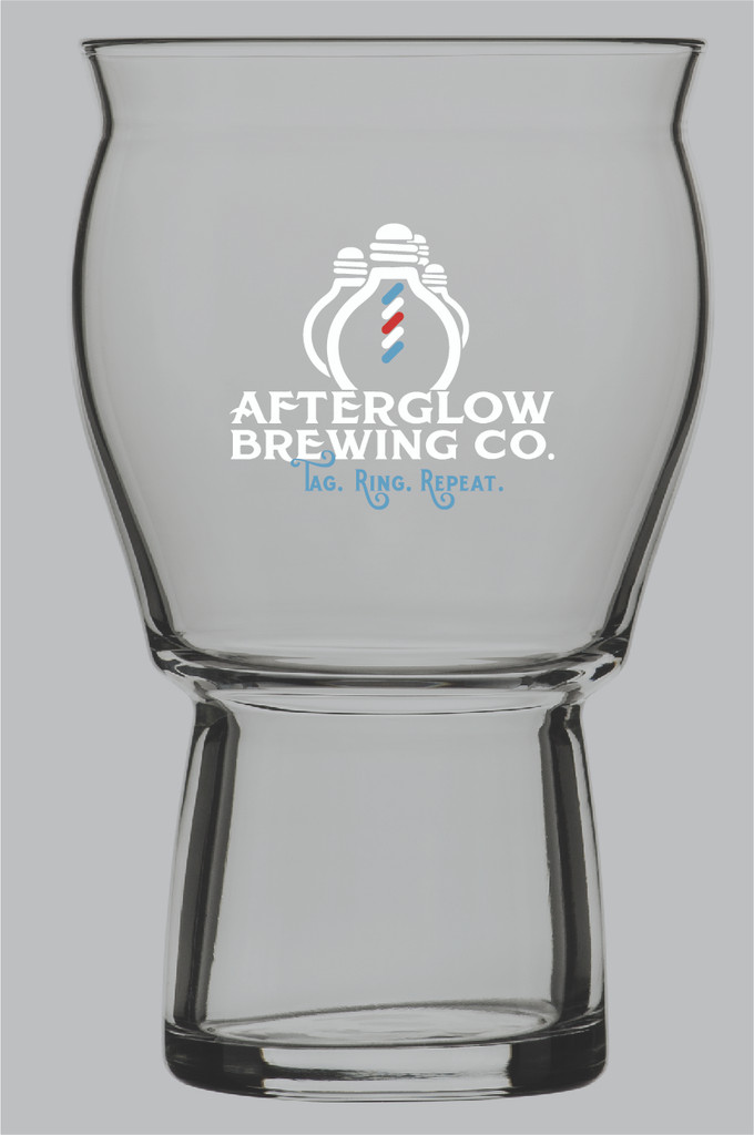 "Stackable and durable, stylish and sensory enhancing, the Afterglow Brewing Co. Glass enhances the colors, flavors, aromas and carbonation of beer, cider, coffee, cocktails and more.  This versatile, ergonomic glass sits comfortably in the hand and on the lip.   Its wide bowl and flared top release aromas and accommodate a proper head, while a heavy base ensures a stable, well balanced glass that's functional for everyday use.    Dimensions: 3 5/8""w X 5 5/8"" H"