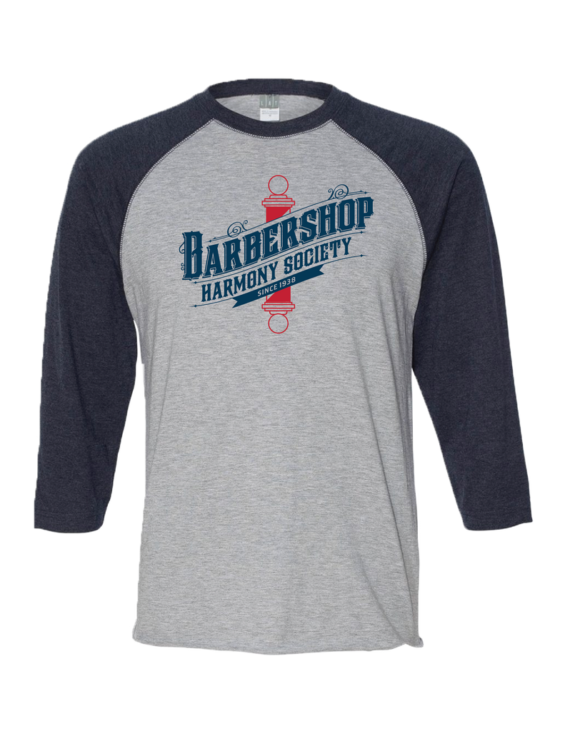 A Unisex 3/4 vintage-style Baseball Tee featuring our Old World Barberpole logo.   With 100% ring spun cotton with flat lock stitched ribbed color and raglan armholes, this shirt sure to be a soft and comfortable fit in all sizes.   Raw serge shirttail hem and easy tear label for additional comfort.