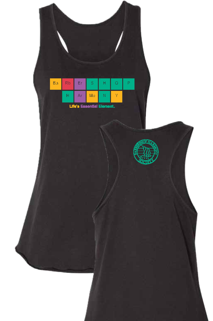 Geek out over our newest shirt featuring two of our favorite words in the Periodic Table style.  Whether you're celebrating the start of the school year with an academic flair or backing in the remaining weeks of summer with a racerback tank, the design is a fun way to show off the science of singing.  Details:  Crew neck T Shirt 60% Ring-Spun Cotton, 40% Polyester Tear Away Label