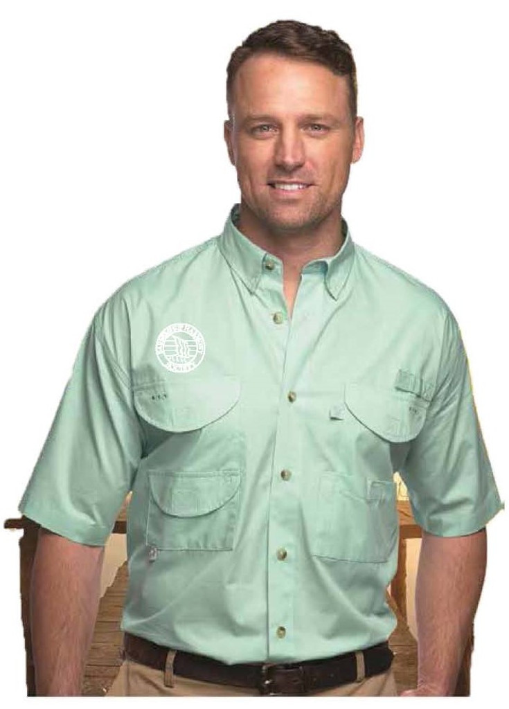 A lightweight Fishing Shirt that is perfect for the boat or the barbecue.   The upper-right breast has the Barbershop Harmony Society crest embroidered in white thread.   This shirt is sure to keep you cool doing any activity in the outdoors during the hottest months of the year.