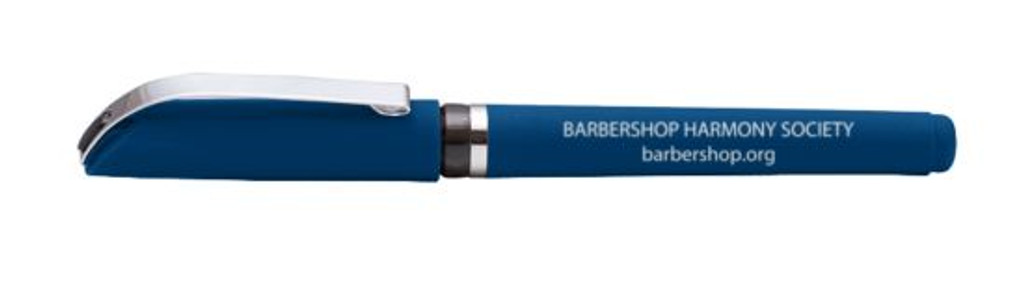 A comfy Blue Ink Pen that fits the hand well, and is laser engraved with the Barbershop Harmony Society name.