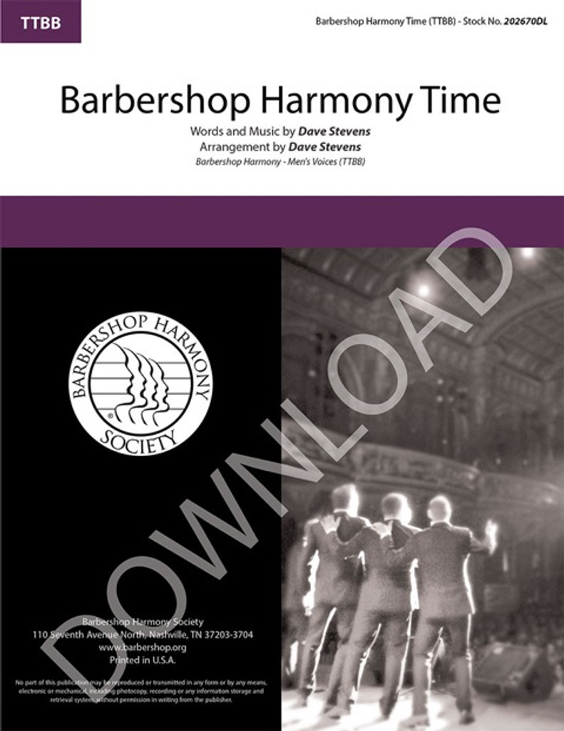 Barbershop Harmony Time (TTBB) (arr. Stevens) - Download