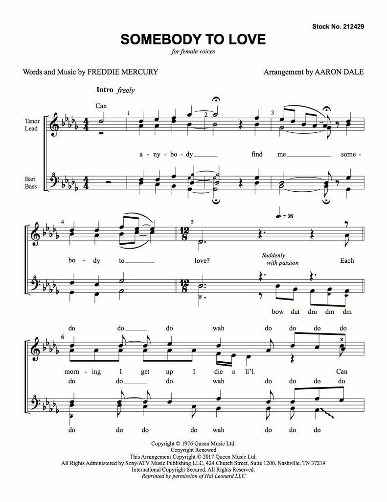 Somebody to Love (SSAA) (arr. Dale) - Download