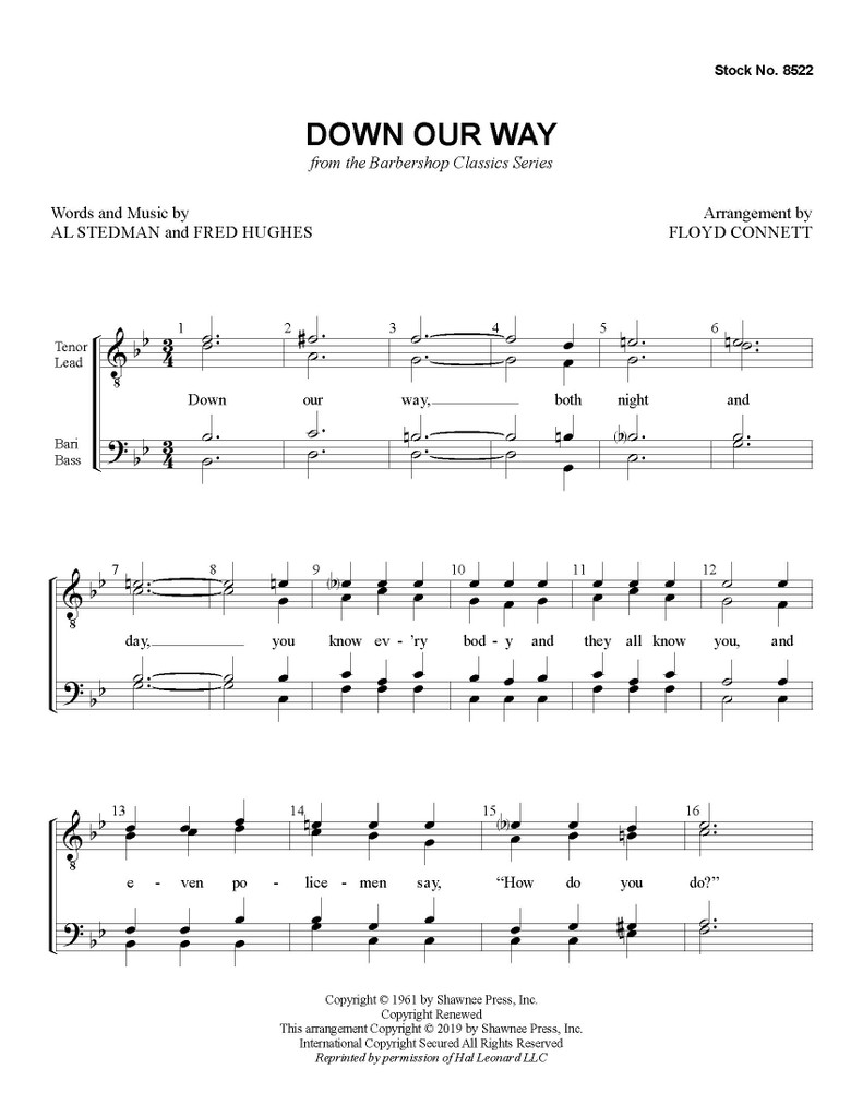 Down Our Way (TTBB) (arr. Connett) - Download