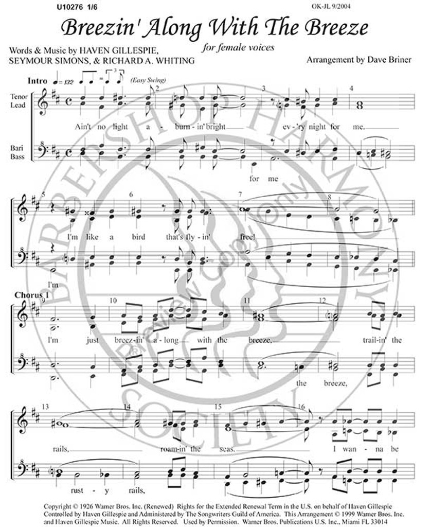 Breezin' Along With The Breeze (SSAA) (arr. Dave Briner)-UNPUB