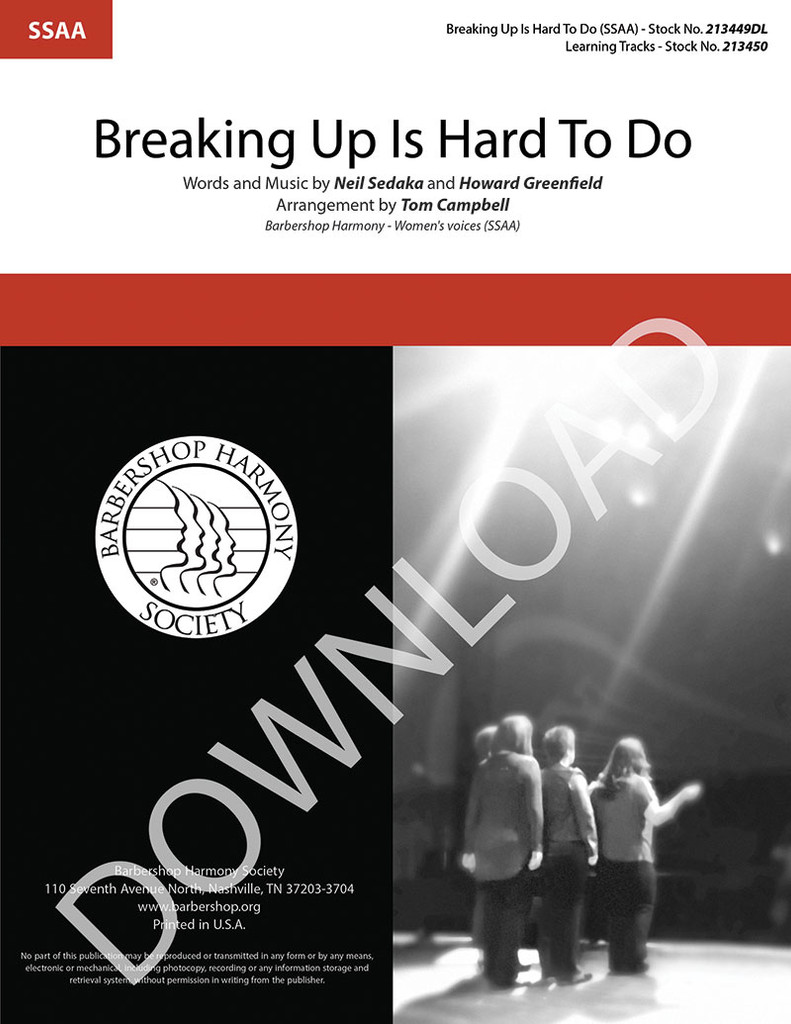 Breaking Up Is Hard To Do (SSAA) (arr. Campbell) - Download
