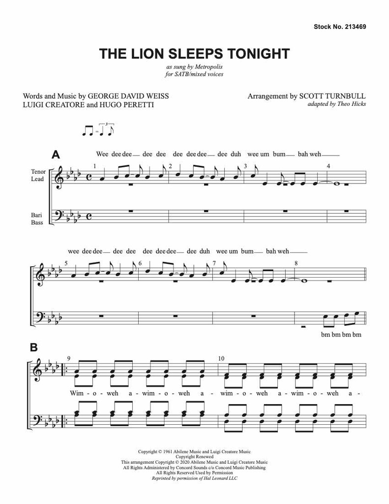 The Lion Sleeps Tonight (SATB) (arr. Turnbull)