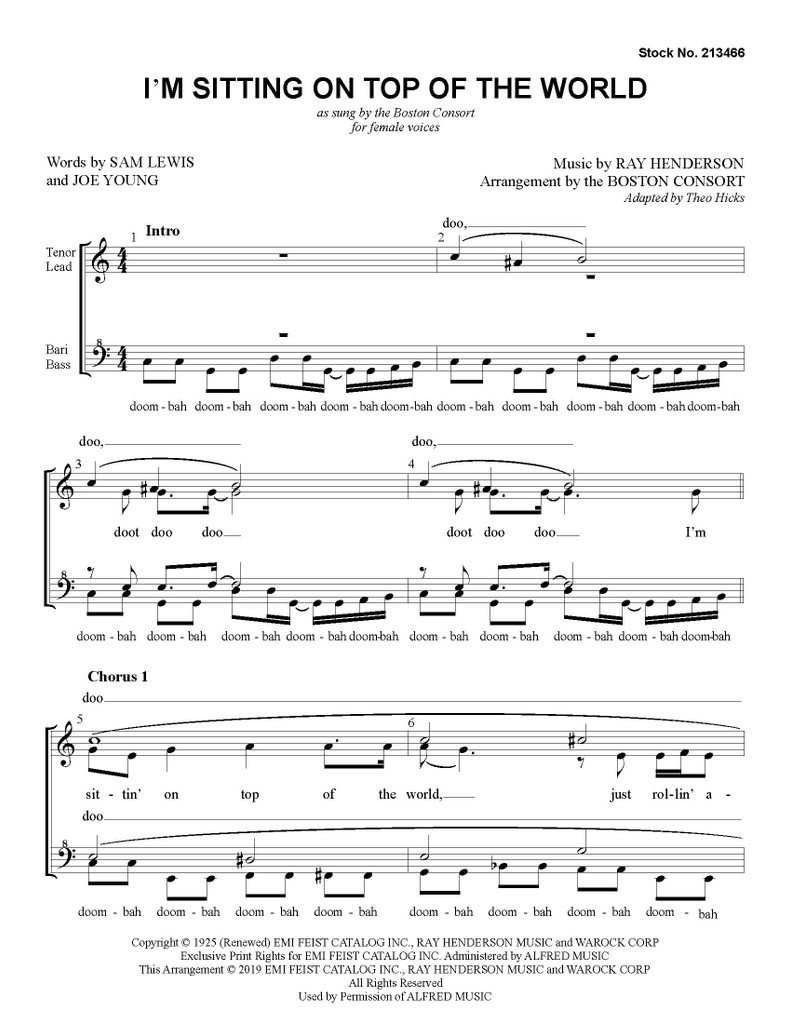 I'm Sitting On Top of the World (SSAA) (arr. The Boston Consort)
