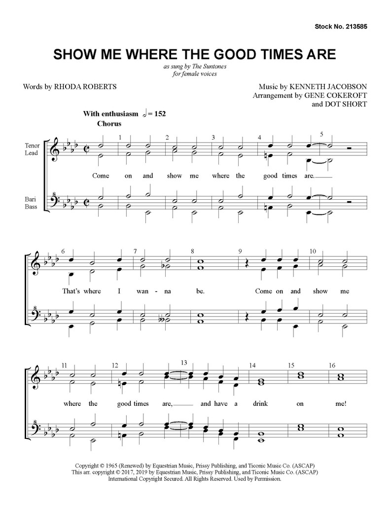 Show Me Where the Good Times Are (SSAA) (arr. Cokeroft & Short) - Download