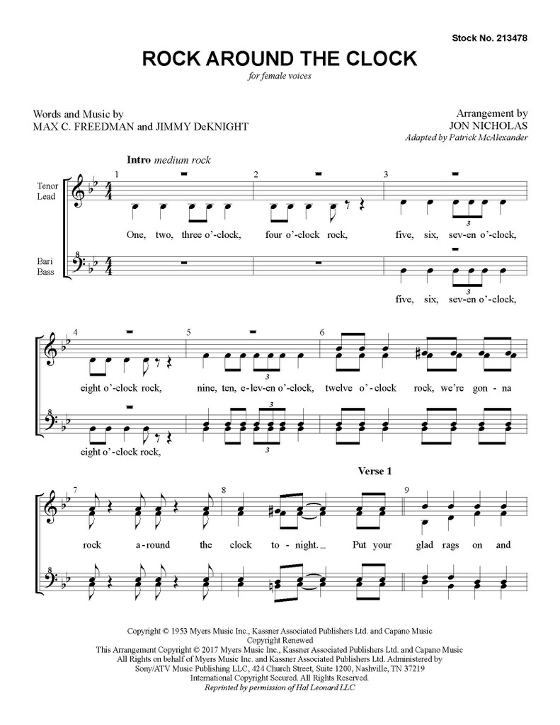 Rock Around the Clock (SSAA) (arr. Nicholas) - Download