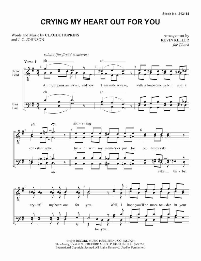 Crying My Heart Out for You (TTBB) (arr. Keller) - Download