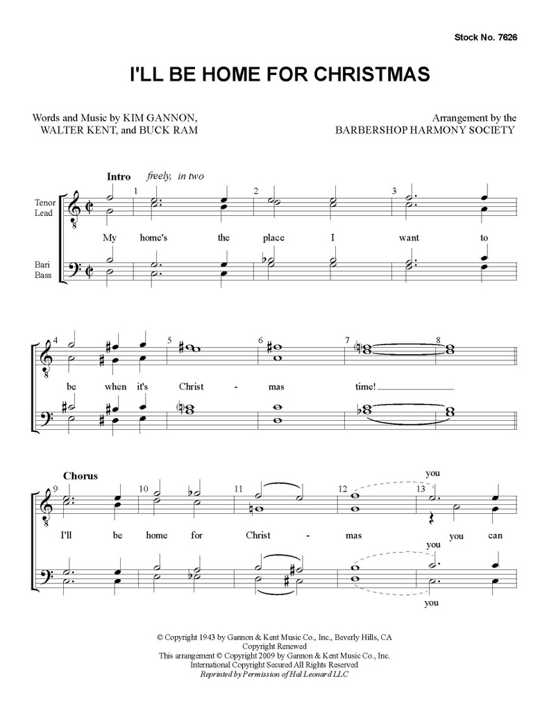 I'll Be Home for Christmas (TTBB) (arr. BHS) - Download