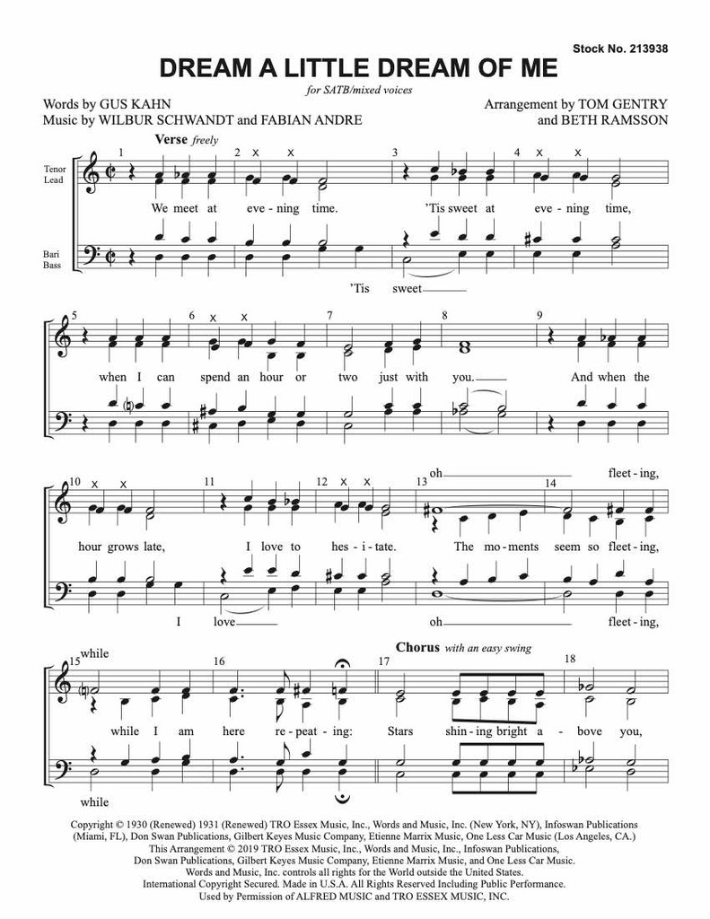 Dream a Little Dream of Me (SATB) (arr. Gentry) - Download