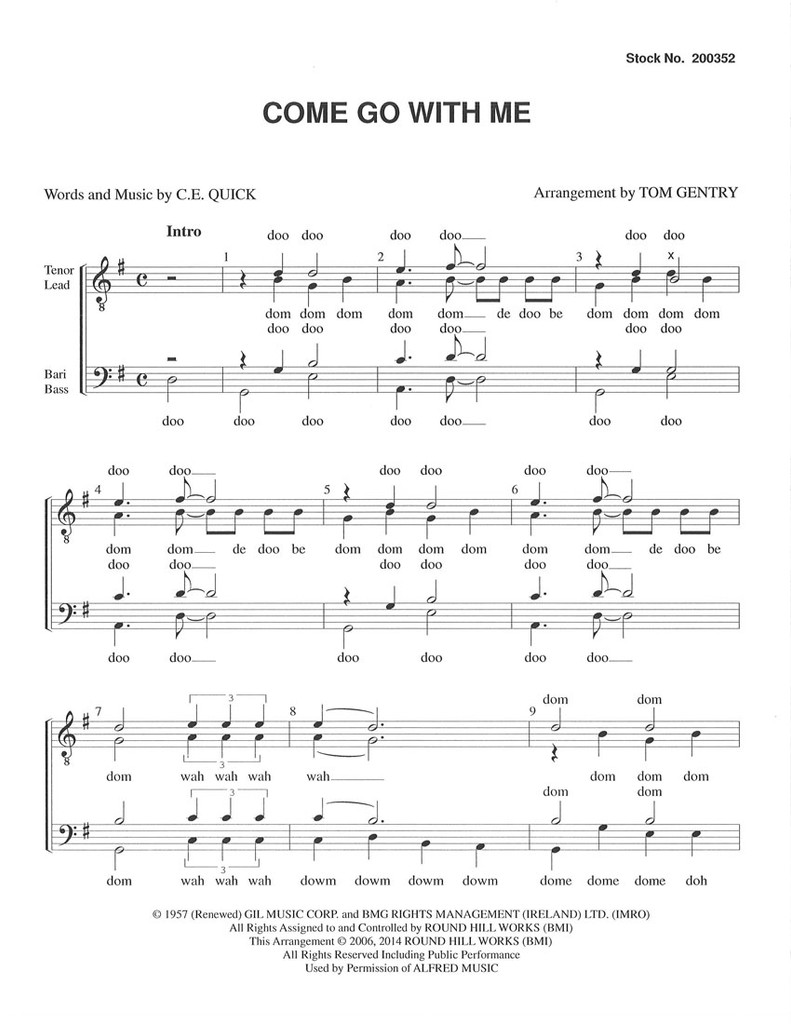 Come Go with Me (TTBB) (arr. Gentry) - Download
