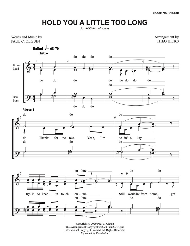 Hold You a Little Too Long (SATB) (arr. Hicks) - Download